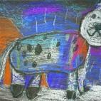 """18.03.2019 / """"Снежный барс"""" в Творческой студии. Автор работы: Ушакова Алиса (5 лет)"""