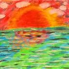 """Группа №2 / 13.09.2018 / Тема """"Закат на море"""" в Библиотеке Удельнинской"""