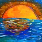 """04.08.2017 / Мастер-классы """"Цветущее дерево"""" и """"Закат на море"""" в Библиотеке Батенинской"""